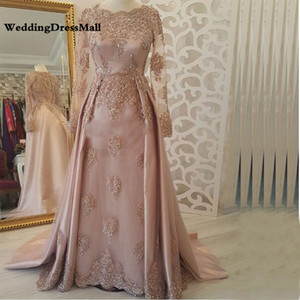 Wholesale Long Sleeves Abendkleider Pink Arabic Evening Dress 2019 Kaftan Dubai Muslim Party Dresses vestido de gala
