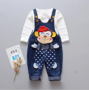 2019 spring and autumn new children's suit denim bib pants trousers two sets of casual suspenders factory straight