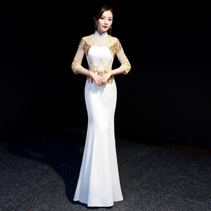 Wholesale Golden Sequins Tassel Chinese Dress Female Cheongsam Sleeve Embroidery Flower Formal Party Dresses Lace Perspective Qipao