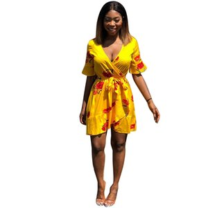 Wholesale Women Yellow Flower Dresses Summer Deep V neck Beach Flower Holiday Seaside ss Clothes Dress