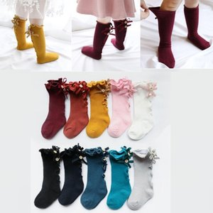 Wholesale Baby Girls Knee Socks Infant Girl Lace Bows Princess Leg Warmers Socks Toddler Cotton Long Tube Cute Stocking