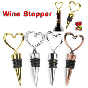 Heart Shaped Metal Wine Stopper Bottle Stopper Party Wedding Favors Gift Sealed Wine Bottle Pourer Stopper Kitchen Barware Tools DBC BH3524