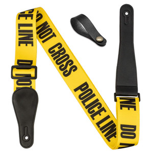 """Guitar Strap Yellow """"POLICE LINE"""" + 1 Leather Guitar Head Stock Strap Tie"""