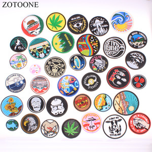 ZOTOONE New 2019 Iron on Patches for Clothing Round Punk Skull Applique Embroidery Flower Patches Heat Transfers for Clothes E