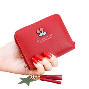 Women Cherry Pattern Short Tassel Design Card Holder Purse on Sale