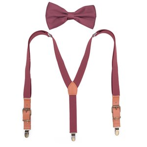 Women Three-Clip Y-Strap Suspenders Bow Tie Set Fashion Clipping Leather Ladies Bow Tie Suit Braces Trousers Solid Shirt Stays