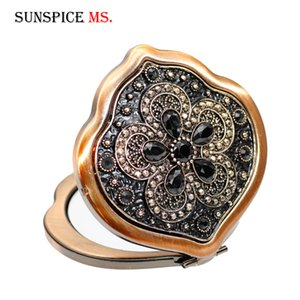 SUNSPICE-MS Turkish Mini Compact Pocket Floral Mirror Portable Two-side Folding Make Up Mirror Women Vintage Cosmetic Mirrors