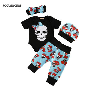 Wholesale New Fashion Newborn Babys Boy Girl Clothes Floral Jumpsuit Romper Long Pants Headband Hat Outfit Set