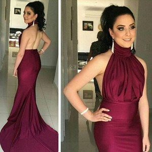 Burgundy Satin Arabic Formal Evening Dresses Sexy Backless Pleats Mermaid Plus Size Prom Special Occasion Gowns Custom Free Fast Shipping