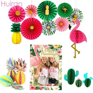 Wholesale Hawaii Wreath Artificial Flowers Hawaii Party Decor Hawaiian Flower Necklace Floral Garland Flamingo Party Decor Garlan
