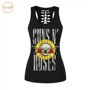 Wholesale Istider New Summer Punk Rock Style d Tank Top Women Fashion Guns N Roses T Shirt Sleeveless Vest Sexy Hollow Out Shirt SH190628