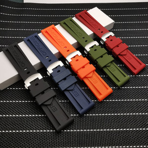 24mm Nature soft Silicone Rubber Watchband fit For Panerai Strap tools Butterfly Buckle for PAM111 441 belt tools
