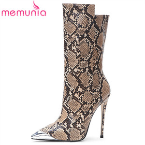 Wholesale MEMUNIA new Fashion Brand ankle boots women snake metal toe autumn winter boots thin high heels party wedding shoes woman