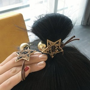 Maxi Korean online celerbity leopard five-pointed star head rope full diamond knotted hair ring on Sale
