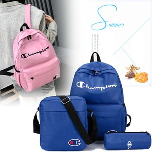 Wholesale Champions Letters Nylon Backpack 1set=3piece Student School Bag Men Women Travel Sport Shoulder Bags portable laptop bag Rucksack