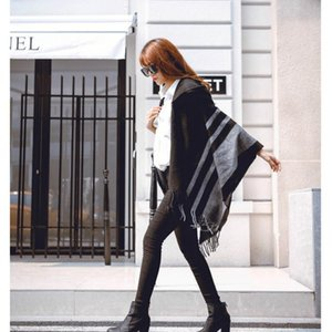 Wholesale High quality women winter scarf fashion striped black beige ponchos and capes hooded thick warm shawls and scarves femme outwear Y191024