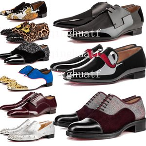 Luxury Mens Designer Red Bottoms Dress Shoes Leather Oxford Red Casual Wear Shoes Matte Patent Leather Studs Flat Business Shoes box &2df29# on Sale