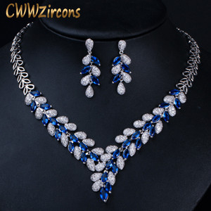 Wholesale CWWZircons Luxury White Gold Color Royal Blue CZ Stone Wedding Necklace Earrings Jewelry Sets Bridal Dress Accessories T315