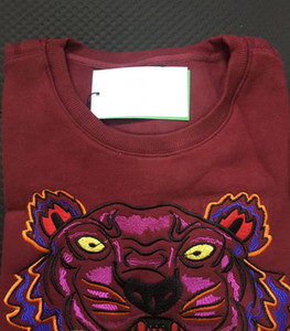 Embroidery tiger head sweater man woman high quality long sleeve O-neck pullover Hoodies Sweatshirts jumper best quality Maroon S-XXL