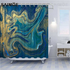 Wholesale curtains bathrooms resale online - ATOMAX Abstract Striped Shower Curtains Blue Green And Gold Liquid Marble Texture Background Bathroom Shower Curtain Waterproof