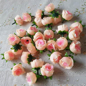Wholesale rose buds resale online - 100pcs Artificial Flowers Heads Pink Artificial Rose Bud For Wedding Decorations Christmas Party Silk Flowers XD22845