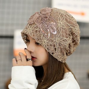 Wholesale 2019 New Women Lace Flower Slouchy Baggy Head Cap Chemo Beanie Cancer Hat Turban Casquette Femme Hats For lady