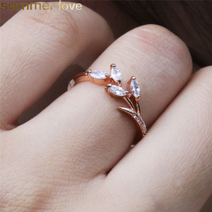 Wholesale Fashion Leaf Crystal Engagement Rings Women s Horse Eye Shape Wedding Zircon Band Rings For Women Silver Rose Gold Rings Jewelry Gifts