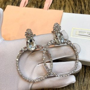 Luxury White Gold Full Crystal Hollow Round Circle Charm Drop Clip Earrings For Women Wedding Party Jewelry on Sale