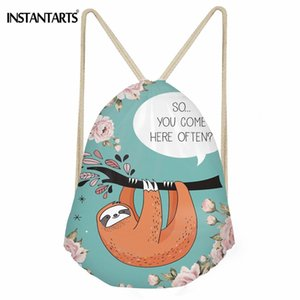 Wholesale INSTANTARTS Sloth Talk Pattern Women's Gym Bag Outdoor Sport Fitness String Backpack Girls Lady Polyester Shoes Drawstring Bags #42715