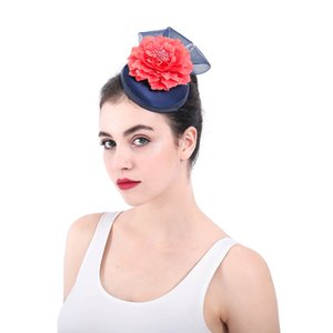 Wholesale Navy Black Sinamay Mesh Fascinator with Red Flower England Bridal Hair Accessories Fascinator Hats with Hair Clips Hand Made Barrett