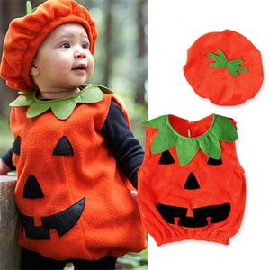 cute Halloween Costume Toddler Kids Pumpkin 2 Piece Set Costume Tops+Hat Infant Baby Child Sleeveless Shirt For Boys Girls 1-3T Au