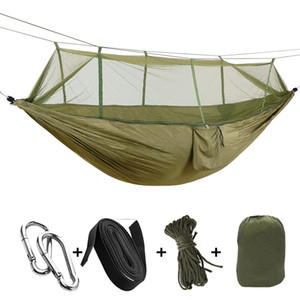 Wholesale 1 Person Portable Outdoor Camping Hammock with Mosquito Net High Strength Parachute Fabric Hanging Bed Hunting Sleeping Swing