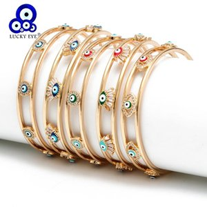Wholesale turkish gold resale online - Lucky Eye Open Bracelet Gold Color Copper Multi Color Turkish Evil Eye Bangle for Women Girls Fashion Jewelry BD168