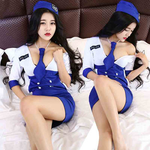 Police Costume Sexy Policewoman Uniform Cosplay Erotic Lingerie Costumes For slim Women Underwear drop ship