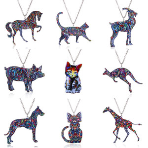 Wholesale 2018 Acrylic Animal Necklace Pet Cat Dragon Pig Bird Wolf Horse Fish Dog Necklace Women Jewelry Pendant Unicorn