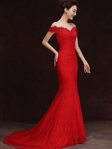 Wholesale Bride toast new fish tail evening dress long tail shoulder red ball dress