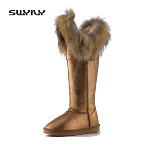 Wholesale Real Fox Fur Snow Boots Women Waterproof Flat Winter Shoes Knee High Boots Women Genuine Leather Warm Shoes Large Size