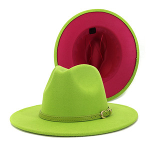 2020 Fashion Outer Lime Green Inner Rosy Patchwork Womens Wide Brim Felt Hats Lady Panama Vintage Unisex Fedora Hat Jazz Cap L XL
