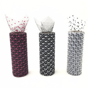 Wholesale rolls cm Y American Dotted Tissue Fabric Ribbon for Skirt doll DIY Gifts Bow Tulle Rolls Wedding Party Decoration Supplies