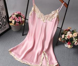 2018 New Sexy Lace Satin Nightgown Beckless Nightdress Women Summer Silk Sleepwear Chemise Night Dress Nightshirt S923