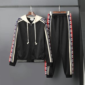 Wholesale Designers men and women of the same brand cotton embroidery string hooded cardigan sweater suit outdoor jogging sports suit