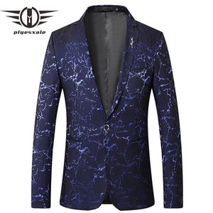 Wholesale 2019 Navy Blue Burgundy Mens Blazer Jacket Casual Blazers Classic Designer Korean Fashion Printed Blazer Slim Fit Masculino Q622