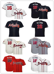 Custom 2019 Men's Braves 16 Brian McCann Atlanta White Home Flex Base Authentic Collection Player women kids Jersey on Sale