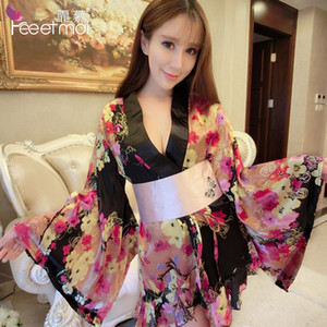Wholesale Feeetmoi Kimono Women Sexy Lingerie Hot Satin Erotic Lingerie Deep V neck Babydoll Lingerie Sexy Sleepwear Sex Clothes belt Y19070402