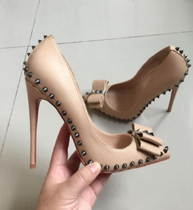 Wholesale Fashion Nude Sheep Pattern Butterfly Riveted Studded High Heel Shoes Women s cm Stiletto Heel Pointed Toes Shoe Sexy Party Dress Shoes