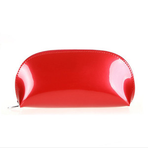 Wholesale designer patent bags resale online - New women makeup bag Patent leather candy solid make up bags ladies girl zipper cosmetic bag small toiletry bag
