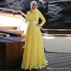 Wholesale 2017 Elegant Yellow Lace Muslim Evening Dress with Hijab Middle East Party Dresses Long Sleeves A line Arabic Prom Gownn vestido de festa