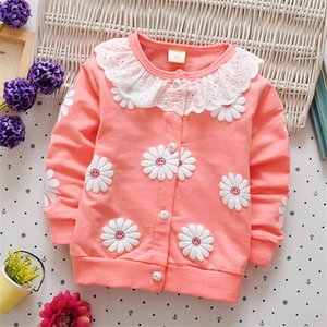 good quality 2018 New Spring Autumn Girls Jacket Coat Baby Kids Flower Hooded Outwear Toddler Children outerwear Jacket on Sale