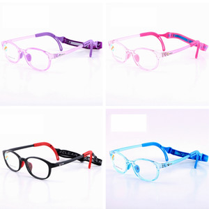Kids Silicone Glasses Fashion Frame Elastic Cord Children Eyewear Frame With Head Band Cord Candy Color Eyeglasses TTA1260