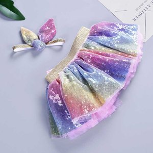 Wholesale 2019 Baby Girls Rainbow TUTU Skirt Set Headband Tutu Skirt Rainbow Tutus Birthdays Party Tutus Skirt Girls Pettiskrit Cloth C52